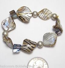 """Mother of Pearl Bracelet, Assymetric Beads w/Black Lines & ST Beads, 6 1/8"""""""