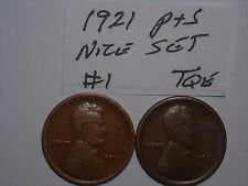 wheat penny 1921S,1921 LINCOLN CENT NICE SET 1921-P, 1921-S SEMI-KEY DATE LOT #1