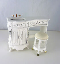 Dollhouse Miniature Fancy Avalon Vanity Sink & Stool, P5231