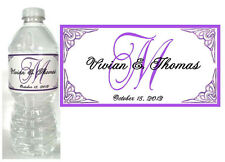 100 PERSONALIZED PURPLE MONOGRAM WEDDING WATER BOTTLE LABELS  Waterproof Ink