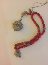 Very Rare Antique Sterling Silver Filigree Carved Coral Rosary Beads