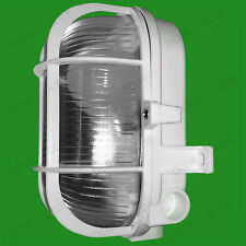 White Caged Oval Glass IP44 Security Bulkhead Wall Lamp Fitting & 40W Light Bulb