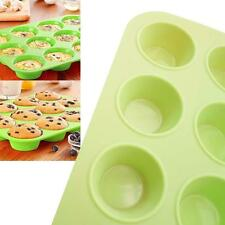 12 Cup Non-stick Silicone Cake Muffin Cupcake Baking Mold Mould Pan Bakeware TR