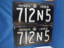 ONTARIO LICENSE PLATE 1950 712N5  SET PAIR CANADA MAN CAVE SIGN OLD CAR SHOP