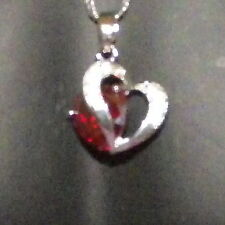 New 925 Sterling Silver Ruby Crystal Heart Pendant Charm Twist Link Chain