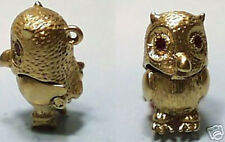 14k gold vintage jeweled OWL PILL BOX charm Ruby eyes