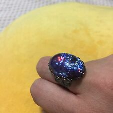 Gunmetal Filigree Dragons Breath Mexican Fire Glass Opal Large Adjustable Ring