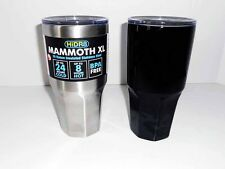 HiDR8 MAMMOTH XL 30 OZ INSULATED STAINLESS STEEL COFFEE MUG LOT SILVER/BLACK