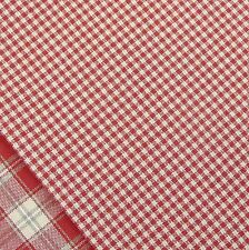 Alpine Red and Linen Mini Gingham Check Fabric / Nordic stocking Christmas