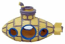 Yellow Submarine Fish Cave Shipwreck Aquarium Ornament Fish Tank Decoration