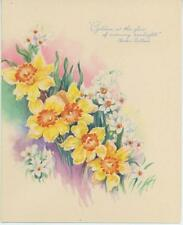 VINTAGE 1950's GARDEN FLOWERS YELLOW WHITE DAFFODILS NARCISSUS POEM CARD PRINT