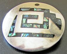 Sterling Silver Abalone Inlay Pendant Brooch Taxco Mexico 925 Abstract TP 118
