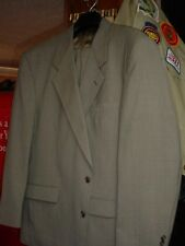MENS BEIGE PIN STRIPE 2 PIECE SUIT 46R GREAT CONDITION SMOKE FR. FREE SHIPPING