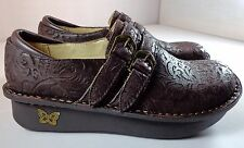 Alegria Alli Brown Leather Emboss Paisley Shoes Womens size 37 6.5-7