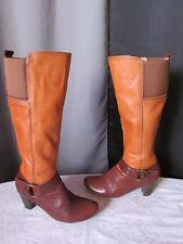 bottes quest? cuir orange et marron 39