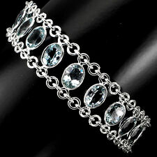 Sterling Silver 925 Genuine Natural Oval Cut Sky Blue Topaz Bracelet 8 Inch