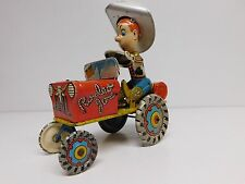 "Unique Art ""RODEO JOE"" CRAZY WOOPEE CAR WIND UP tin LITHO works ANTIQUE 1930's"