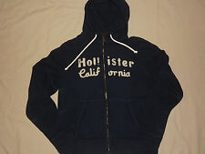 "MENS BRAND NEW WITH TAGS ""HOLLISTER"" NAVY DISTRESSED ZIP UP HOODIE SIZE XL"