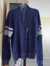 NWT GUESS MENS MASON MARLED PULLOVER SWEATER HOODIE BLUE MULTI 100% AUTHENTIC-LG