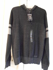 NWT GUESS MENS MASON MARLED PULLOVER SWEATER HOODIE JET BLACK MULTI 100% AUTH-LG