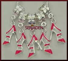 5 Red Stiletto Dangling Charms for European Style Bracelets or Necklaces  S122