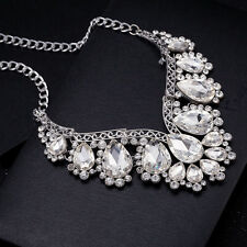 Bling Clear Gemstone Teardrop Rhinestone Silver Wedding Statement Necklace Chain