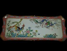 Antique Large CHINESE CANTON Enamel Tray  BirdsPeacok Drago Hand Painted14x6inch