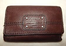 FOSSIL LONG LIVE VINTAGE 1954 DARK BROWN PEBBLE LEATHER TRIFOLD  WALLET