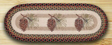 """100% Natural Braided Jute Runner Rug PINE CONES 13"""" x 36"""" Oval, Earth Rugs"""