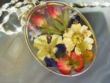 Vintage Sterling Silver Dried Flower Necklace PENDANT Magnetic Clasp Resin