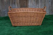 Large Wicker Willow Basket rectangle Storage with Handle Log Toy Laundry Hamper