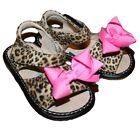 ADD-a-BOW Girls Leopard SQUEAKY Shoes Toddler SIZES 4-8 - Leopard Sandals!