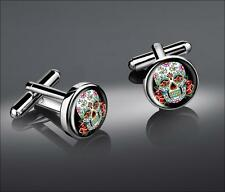 Day of the Dead Sugar Skull Muertos Sterling Silver Halloween Glass Cufflink Set