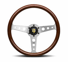MOMO INDY 350MM MAHOGANY WOOD SILVER SPOKES CLASSIC CAR STEERING WHEEL