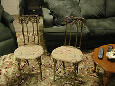 Antique Metal Folding Chairs w Cast Iron Art Nouveau Decoration