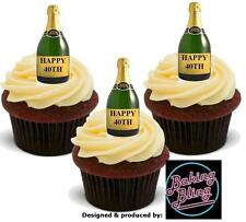 12 Novelty HAPPY 40TH BIRTHDAY Champagne Bottles STAND UP Edible Cake Toppers