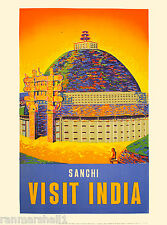 India Southeast Asia Sanchi Visit Indian Vintage Travel Advertisement Poster