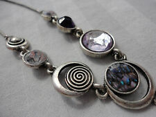 "Silvertone clear purple crystal abalone moons 11 cm swag 20 gram 18-21"" necklace"