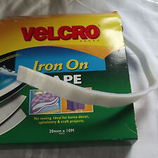 Velcro Hook and Loop Tape, Iron on, White 20mm by 1 metre