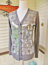 HOLIDAY! CHARTER CLUB SOFT GRAY CARDIGAN EMBELLISHED SILVER SEQUINS M SWEATER