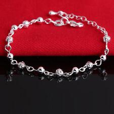 Neu Damen Versilbert Silber Plattiert Armband Armbändchen Armkette Perlen Ball
