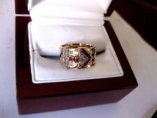 """RETRO"" 14K multi-tone ROSE GOLD RING ""BUCKLE"" with DIAMONDS & RUBIES,1941"