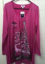 Millers Size 14 Hot Pink Paris Stretch Long Sleeve Top New BNWT Casual