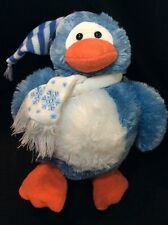 Animal Adventure Blue Penguin Scarf Holiday Hat Plush Lovey Soft Toy Snow Flake
