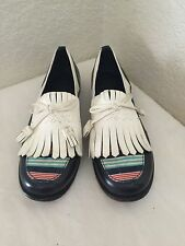 TORY BURCH  NAVY IVORY  LEATHER LOAFERS TASSEL & FRINGE DETAIL  Sz 6M