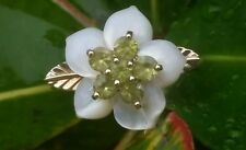 Vintage 14k Yellow Gold Peridot Mother Of Pearl  Ring Estate Jewelry  Designer
