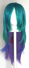 25'' Layered Straight Cut w/ No Bangs Celestia Green Blue Blend Cosplay Wig NEW