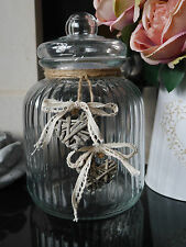 Large Shabby Chic Vintage Style Ribbed Glass Storage Jar & Lid Biscuit Barrel