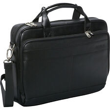 Samsonite Leather Slim Laptop Brief - Black Non-Wheeled Business Case NEW