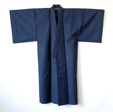 Japanese Vintage Men's Kimono Dark Blue Wool K46